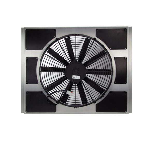 Universal fit fan & shroud kit with wire harness and thermostat.